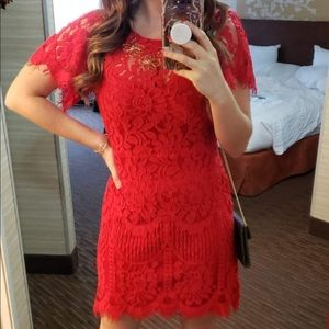 Lulus Pearson Red Lace Dress Short Sleeve New NWT